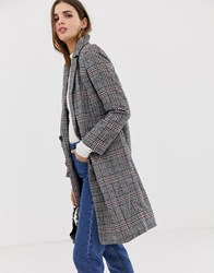 Qed London Double Breasted Check Coat Grey Red
