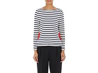 Lisa Perry Mariners Striped Cotton Top Ivorybone
