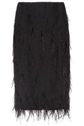 Jason Wu Feather Embellished Voile Skirt Black