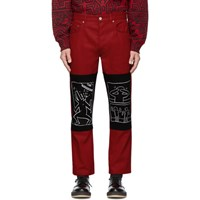 Etudes Studio Red Keith Haring X Mta Edition Corner Canvas Trousers