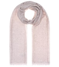 Brunello Cucinelli Sequined Cashmere And Silk Scarf Pink