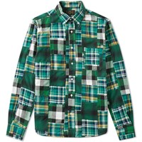 Beams Plus Button Down Patchwork Check Shirt Green