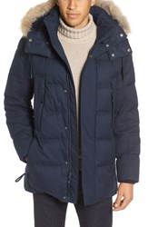 Marc New York Men's By Andrew Cumberland Genuine Coyote Fur Trim Down And Feather Fill Parka Ink