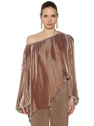 Krizia Off The Shoulder Pleated Satin Top Champagne