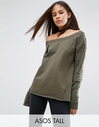 Asos Tall Sweatshirt In Off Shoulder Boxy Fit Khaki Pink