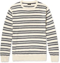 J.Crew Striped Melange Knitted Cotton Sweater Neutral