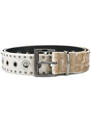 Dorothee Schumacher Silver Tone Studded Belt Nude And Neutrals
