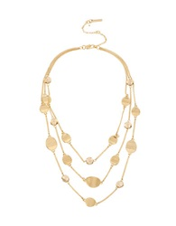 Kenneth Cole Mixed Metal Chain Disc And Bead Necklace Gold