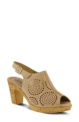 Spring Step Liberty Platform Sandal Beige Leather
