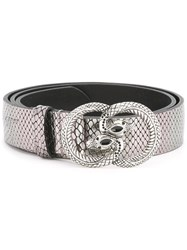 Just Cavalli Snake Buckle Belt Metallic