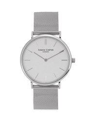 Simon Carter Mesh Stainless Steel Watch Silver