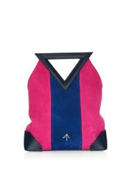 Manu Atelier Triangle North Suede And Leather Tote Bag Multi