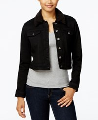 Lee Platinum Faux Sherpa Collar Denim Jacket Black