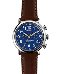 41Mm Runwell Chrono Watch Dark Brown Blue Shinola