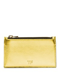 Tom Ford Laminated Large Zip Wallet Gold