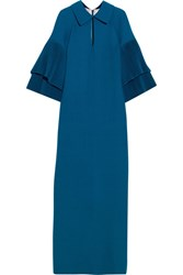 Merchant Archive Pleated Wool Crepe Gown Bright Blue