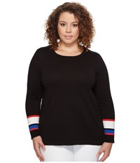Vince Camuto Specialty Size Plus Long Sleeve Striped Cuff Sweater Rich Black Women's Sweater