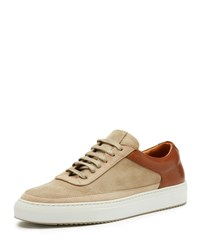 Frye Clyde Suede And Leather Low Top Sneakers Taupe