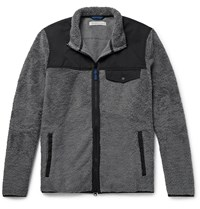 Outerknown Shell Trimmed Cotton Blend Fleece Jacket Gray