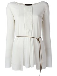 Fabiana Filippi Pleated Front Knit Top White