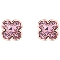 Karen Millen Art Swarovski Crystal Flower Stud Earrings Rose Gold Rose