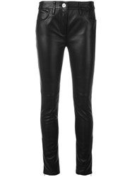Versace Contrast Skinny Leather Trousers Black