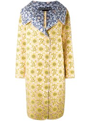 Rochas Floral Print Coat Yellow