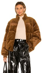 Stine Goya Aria Faux Fur Jacket In Brown. Golden Brown