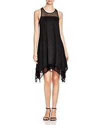 Red Haute Mesh Trimmed Handkerchief Dress Black