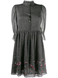 Zadig And Voltaire Floral Ruffle Mini Dress Grey