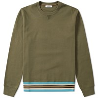 Valentino Military Taping Welt Crew Sweat Green