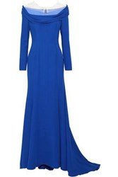Reem Acra Woman Off The Shoulder Tulle Paneled Silk Cady Gown Cobalt Blue