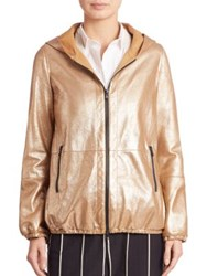 Brunello Cucinelli Metallic Leather Jacket Gold