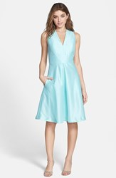 Alfred Sung Women's V Neck Dupioni Cocktail Dress Seaside