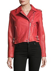Bagatelle Solid Leather Jacket Washed Red