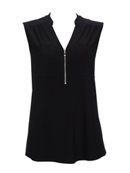 Wallis Black Sleeveless Zip Shirt