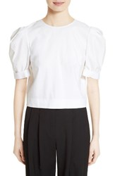 Adam By Adam Lippes Women's Puff Sleeve Cotton Blouse White