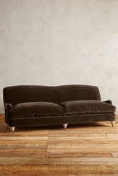 Anthropologie Velvet Glenlee Sofa Wilcox Chocolate