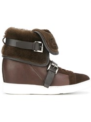 Santoni Concealed Wedge Ankle Boots Brown