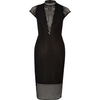 River Island Womens Black Turtle Neck Mesh Bodycon Midi Dress