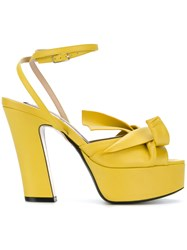 N 21 No21 Abstract Bow Platform Sandals Calf Leather Leather Yellow Orange