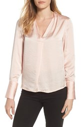 Kenneth Cole New York Crinkle Long Sleeve Blouse Spiced Coral