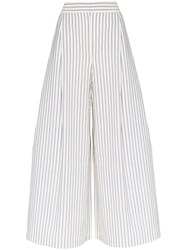 Vika Gazinskaya Cropped Wide Leg Trousers Blue