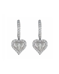 Neiman Marcus 18K White Gold Half Hoop Heart Drop Earrings Women's