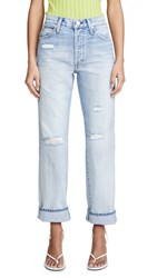 Amo Layla High Rise Relaxed Straight Leg Jeans Super Light Vintage Destructed