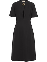 Burberry Short Sleeve D Ring Detail Silk Wool Dress Black