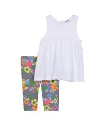 Splendid Sleeveless Empire Waist Top W Floral Leggings White