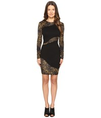 Versace Long Sleeve Placed Sheer Dress Nero