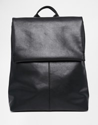 Monki Clean Leather Look Fold Over Backpack Black