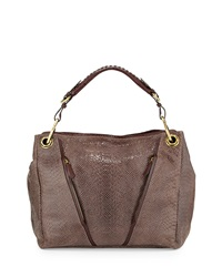 Oryany Bette Embossed Leather Shoulder Bag Mushroom